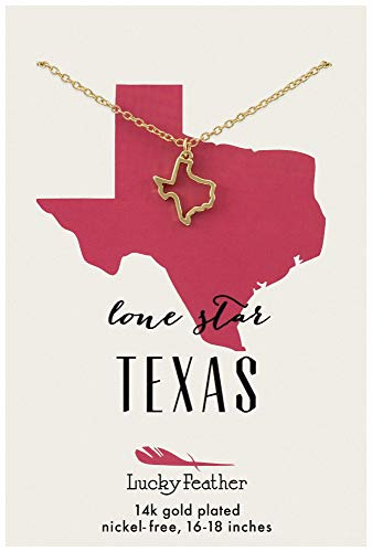 "Lucky Feather Texas Shaped State Necklace, 14K Gold-Dipped Pendant on Adjustable 16""-18"" Chain"