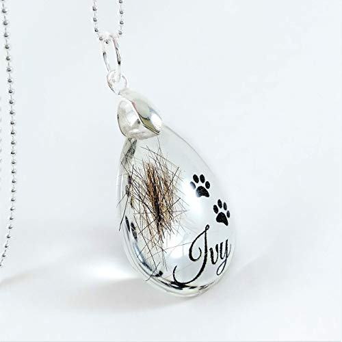 Memorial Hair Locket Keepsake with Paw Prints and Name, Pet Loss Gift Jewelry, Horse Dog Cat Fur Pendant - Keepsake Locket