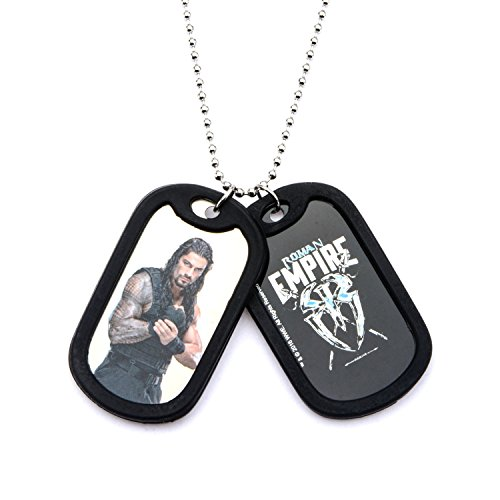 Wwe Dog Tags (WWE Jewelry Roman Reigns Stainless Steel Double Dog Tag Men's Pendant Necklace, 24