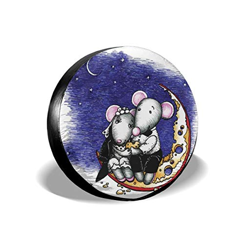 GULTMEE Tire Cover Tire Cover Wheel Covers,Mouse Couple Sitting On The Cheese Flavoured Moon Bride and Groom Love Valentines Art,for SUV Truck Camper Travel Trailer Accessories(14,15,16,17 Inch) 15 ()