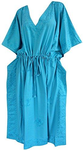 La Leela designer de vêtements de nuit brodé v-cou taille plus longue caftan vert