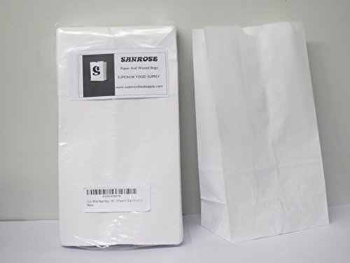 3 Lb. White Paper Bag - . Rainbow Bags, White Uncoated Kraft Paper 8 1/2 x 4 3/4 x 2.14