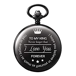 "TREEWETO Men's Pocket Watch Gifts for Men Dad Boyfriend Father Husband Anniversary Gift for Man Engraved""to My King"""