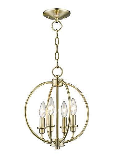 (Livex Lighting 4664-01 Milania 4-Light Convertible Hanging Lantern/Ceiling Mount, Antique Brass)