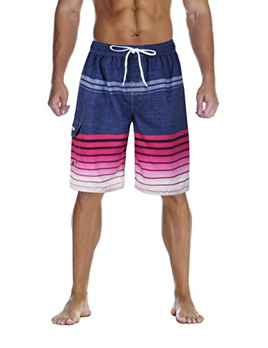 (Nonwe Men's Swimsuit Quick Dry Striped Water Sport Swim Shorts Drawsting Rose 40)