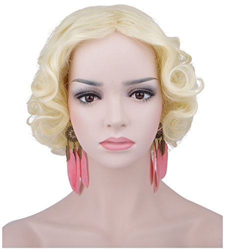 Spretty Women's Gorgeous Short Curly Wavy Fluffy Wig for Costume Cospaly Party(Beige) - Legally Blonde Costume Party