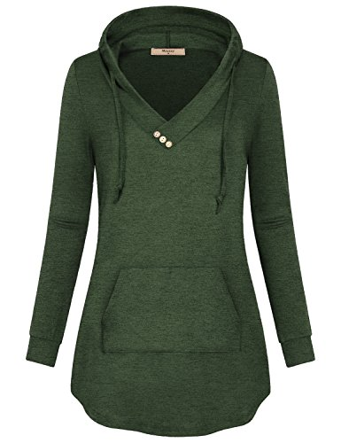Lightweight Hoodie,Miusey Women Vneck Casual Wear Stylish Swing Flowing Drape Soft Surrounding A-Line Athleisure Dressy Breathable Elegant Easy Fit Solid Vintage Tunics Swag Hem Blouson Tops Green XL by Miusey