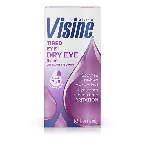 Visine Tired Eye Dry Eye Relief Eye Drops, Moisturizing & Soothing Drops for Irritated Eyes Due to Screen & Computer Use, 0.5 fl. oz (Best Eye Drops For Eye Strain)