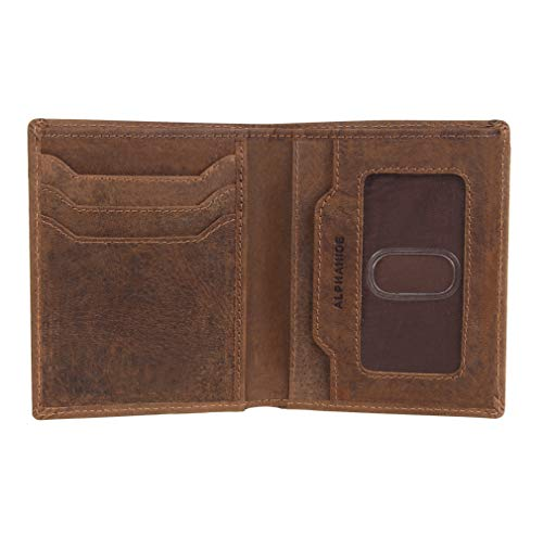 Vertical Fold Bi - AlphaHide Men's RFID Blocking Wallet - Vertical Bifold Design - Slim Credit Card Case with ID Window - Genuine Hunter Leather (Brown)