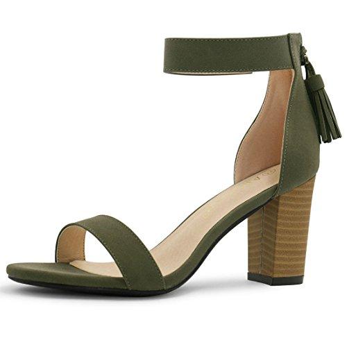 (Allegra K Women's Stacked Heel Ankle Strap Sandals (Size US 8.5) Khaki Green)