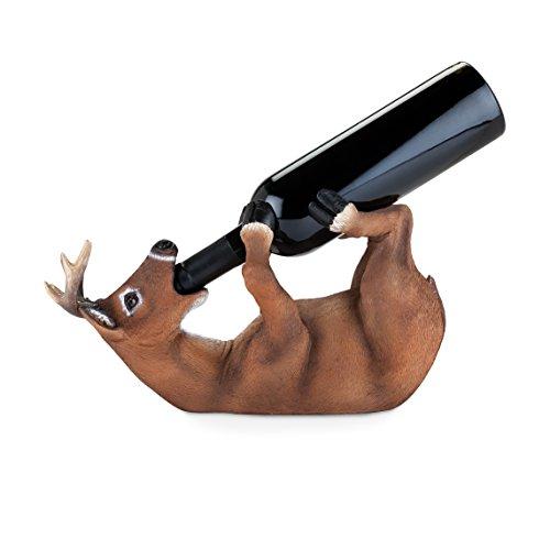 - True 3977 Drunken Deer Wine Bottle Holder, Brown, Black and White Set of 1
