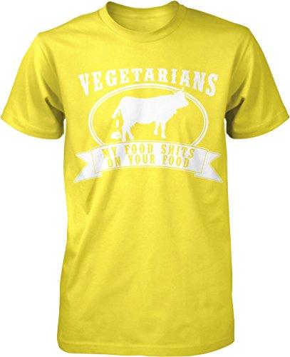 Vegetarian, My Food Shits On Your Food, Tree Hugger, Paleo Diet Men's T-shirt, NOFO Clothing Co. XXXL Yellow