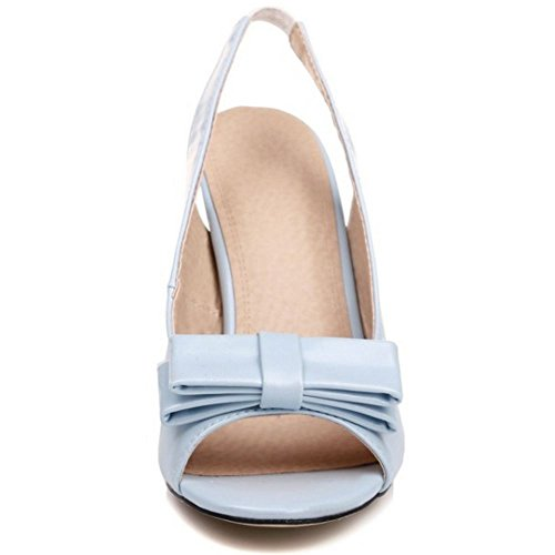 TAOFFEN Women Sweet Slingbacks Sandals Peep Toe Summer Shoes Blue MwCrlo9