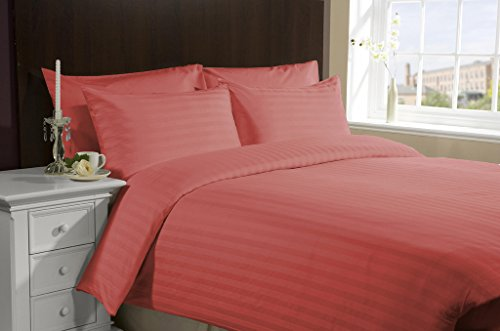 UPC 889318075531, Luxurious 300 Thread Count 3 Peice Duvet Set in Stripe Brick Red Queen 100% Cotton by Bed&Linen