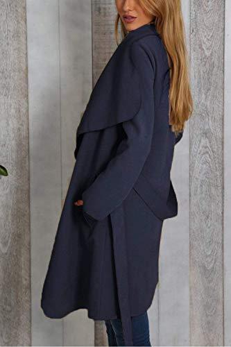 Largos Fashion Navy Larga Anchos Gabardina Chaquetas Abrigos Mujer Yx0BgnTwqv