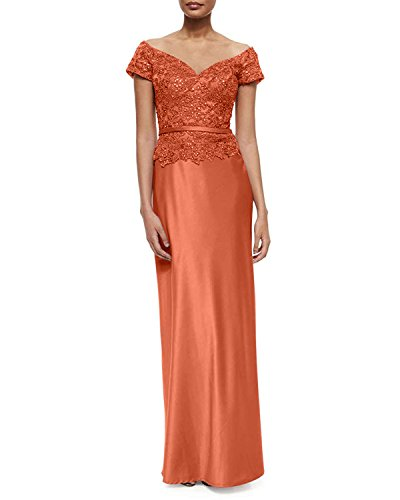 mia Brautmutterkleider Kurzarm Schulterfrei La V Abendkleider Orange Damenkleider Brau Ausschnitt Promkleider Satin Etuikleider Hp0xqdw