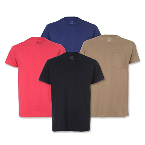 Fruit of the Loom Men's Pocket Crew Neck T-Shirt – Large – Assorted (Pack Of 4)