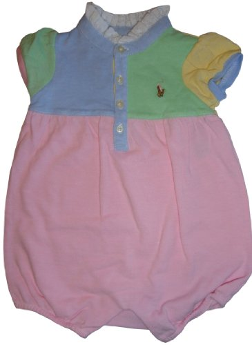 Ralph Lauren Polo Infant Girl's Short Sleeve Patchwork Baby Romper Pink Multicolor (3 Months)