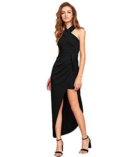 MakeMeChic Women's Sleeveless Split Ruched Halter Party Cocktail Long Dress Black L