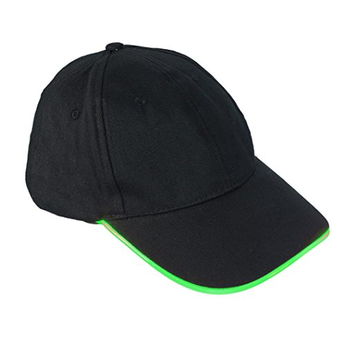 (Voberry LED Lighted Glow Club Party Sports Athletic Travel Hat Cap (Green))