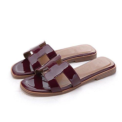 patent Slipper Lady Slide Jwhui leathe Really Genuine Women Sandals Designer Designer Shoes Leather H Luxury Fashion Cow purple Brand Women Slippers Flats fqpHn