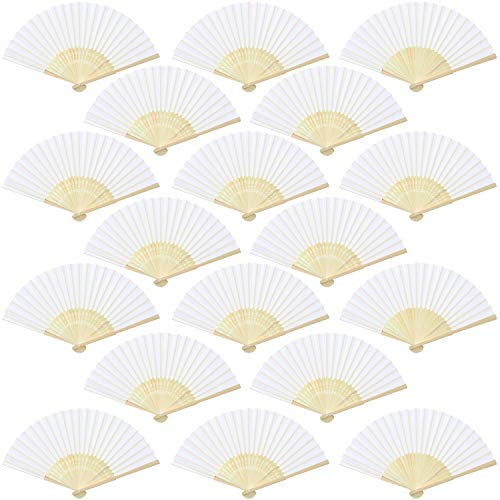 Aneco 18 Pieces White Handheld Fans Cloth Fans Bamboo Folding Fans for Wedding Decoration, Church Wedding Gifts, Party Favors, DIY Decoration