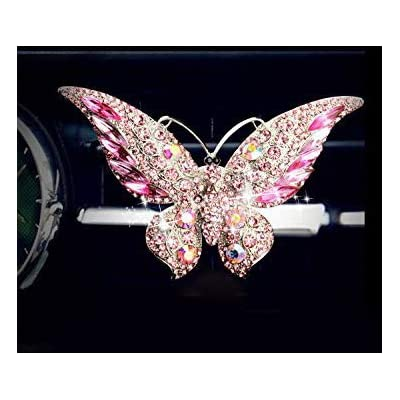 Bestbling Bling Crystal Car Fragrance Butterfly Car Diffuser Air Freshener with Vent Clip (Pink): Automotive