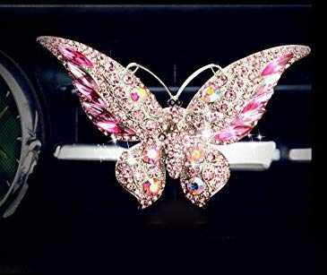 Bestbling Bling Crystal Car Fragrance Butterfly Car Diffuser Air Freshener with Vent Clip (Pink)