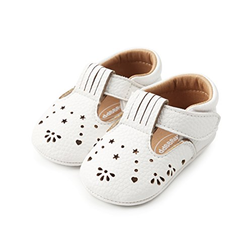 (Baby Girls Boys Hollow Leather Soft Sole Buckle Casual Shoes (6-12 Months, White))