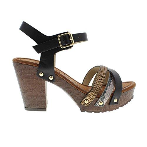 Moca Mid High Heel Donna Casual In Ecopelle E Pelle / W Multi Strap Stampa Serpente Design Madden-81 Nero