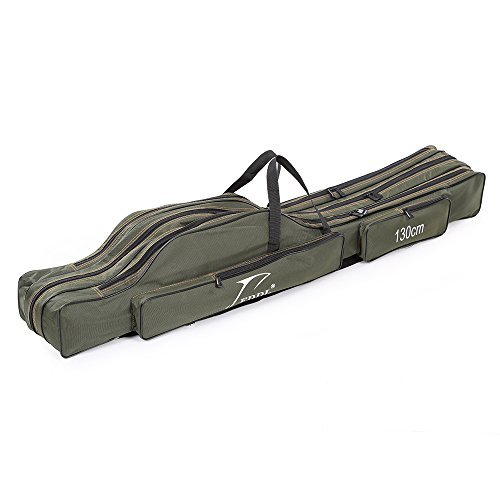 (Docooler Portable Folding Fishing Rod Carrier Canvas Fishing Pole Tools Storage Bag Case Fishing Gear Tackle)