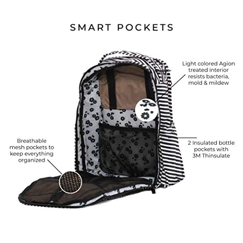JuJuBe Diaper Backpack | Multi-Functional, Structured, Waterproof, Stylish, Changing Pad + Insulated Pockets Included  | Onyx Collection | Be Right Back, Black Magic