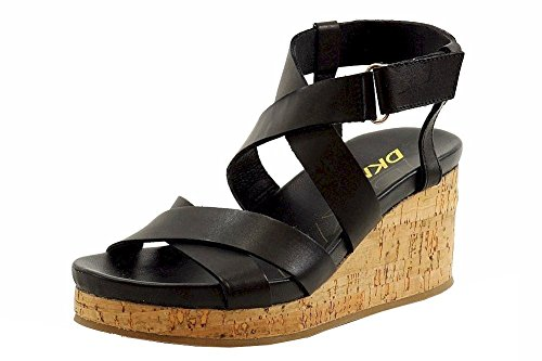 DKNY Women's Lani Cork Wedge Sandals, Black, 6.5 B(M) US Dkny Cork Sandals