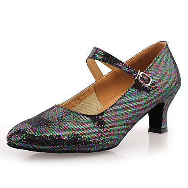 XIAMUO Nicht anpassbar - Die Frauen tanzen Schuhe Ballsaal/Moderne Kunstleder Ferse Silber, Gold, Us8.5/EU39/UK6.5/CN 40