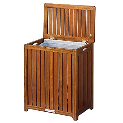 Oceanstar Solid Wood Spa Laundry Hamper - Hand grips on both sides for easy carrying Easy to open lid that stays open so you do not need to hold onto the top Slatted design for air passage - laundry-room, hampers-baskets, entryway-laundry-room - 41L0AInPNUL. SS400  -