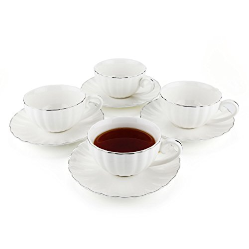 Mucihom 7.5oz Tea Cup with Saucer Sets, British Royal Style White Porcelain Coffee/Cappuccino/Latte Cup with Saucer Silver Trim Pack of 4 (Set Coffee Silver Tea)
