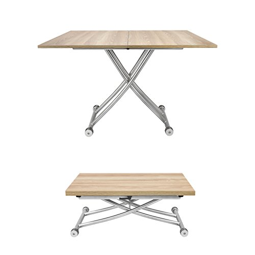 SpaceMaster 2219-LGTWD X Table Convertible Adjustable Coffee and Dining, Light Wood
