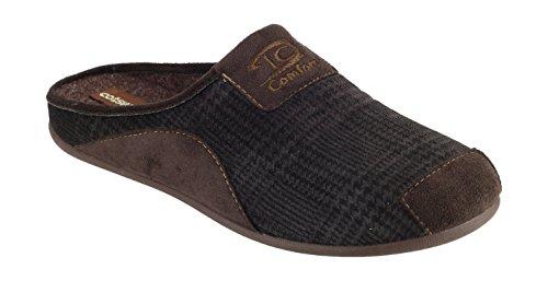 Cotswold Cotswold Hombres Westwell Mule Cómodo Textil Forrado Zapatillas Marrón Textil Marrón
