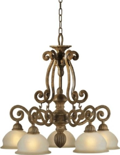Forte Lighting 2433-05-17 Traditional 5-Light Chandelier, Chestnut Finish with Shaded Umber ()
