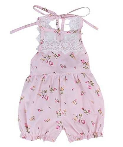 Newborn Baby Girls One-pieces Sleeveless Lace Back Floral Romper Harem Cropped Pants (0-6 months, (3 Piece Harem)
