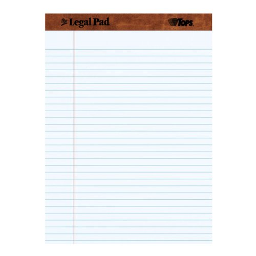 "TOPS The Legal Pad 8-1/2"" x 11-3/4"" Perforated White, Legal/Wide Rule, 50 Sheets per Pad/12 Pads per Pack (7533)"