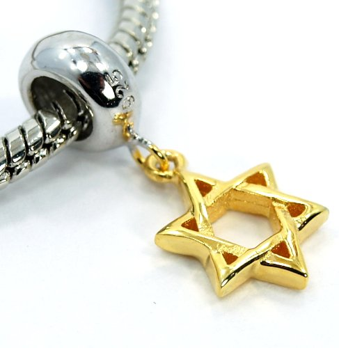"""Pro Jewelry .925 Sterling Silver """"Star of David"""" Gold Tone Dangle Charm Beads for Snake Chain Charm Bracelets"""