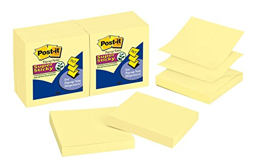 (Post-it Super Sticky Pop-up Notes, 2x Sticking Power, 3 x 3-Inches, Canary Yellow, 12-Pads/Pack)
