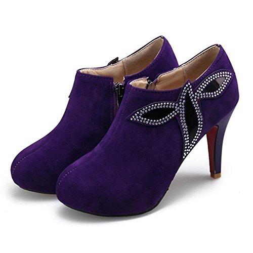 RAZAMAZA Women Boots Zipper 2-Purple WQYKx8c