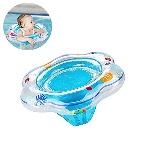 Baby Swimming Ring Floats with Safety Seat Double Airbag Swim Rings for Babies Kids Swimming Float Baby Floats for Pool Swim Training Aid Kids PVC Pool Floats for Toddlers of 3-30 Months (Blue) ()