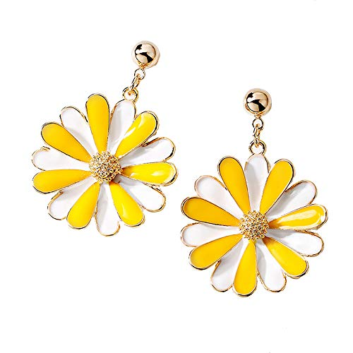 ANDANTINO 18K Gold Plated Women's Copper/Alloy Earring- with Various Style Ear Studs- Gift to Girls (Yellow Daisy Flower) (Earrings Yellow Gold Flower)