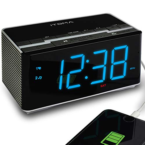 iTOMA Alarm Clock Radio with Wireless Bluetooth Stereo Speakers,Digital FM Radio,Dual Alarm with Snooze,Auto Dimmer,Cell Phone USB Charging -