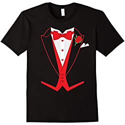 Men's Valentine's Day Costume Red Bow Tie Tailcoat Tuxedo T-Shirt Large Black