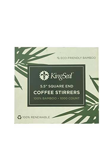 KingSeal Bamboo Coffee Stir Sticks, 5.5 inches, Square End, Stronger and Thicker Than Standard Wood, 100% Renewable and Biodegradable - 1 box of 1000 Stirrers ()