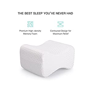 Ostad Memory Foam Knee Pillow | Orthopedic Sleep Aid with Washable Cover for Back Support, Post Pregnancy, Side Sleep, Back Pain | Sciatica Pain Relief Pillow | Small - Medium